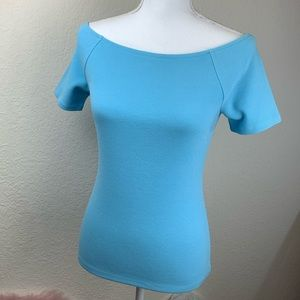 Ann Taylor Factory Petite Blue Boatneck Top